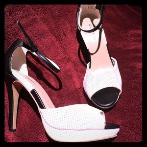 New Colour block peep toe heels